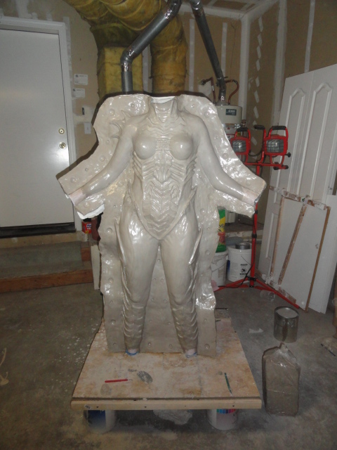 Queen of Blades tutorial Step Six: Molding the body suit